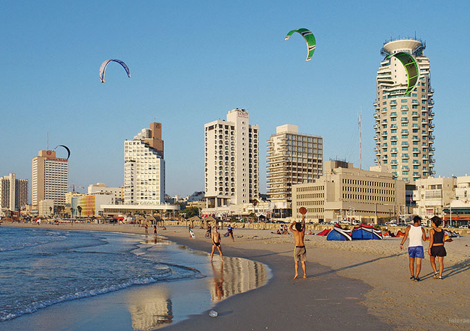Flying high over Tel Aviv beach, Israel