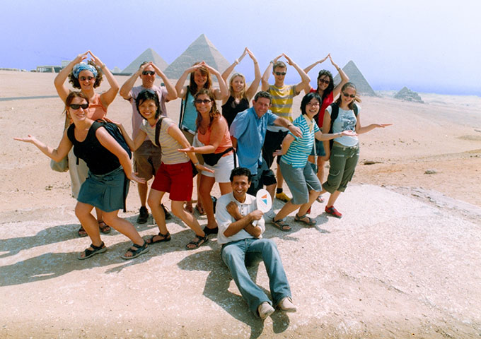 Group at the Pyramids, Cairo, Egypt