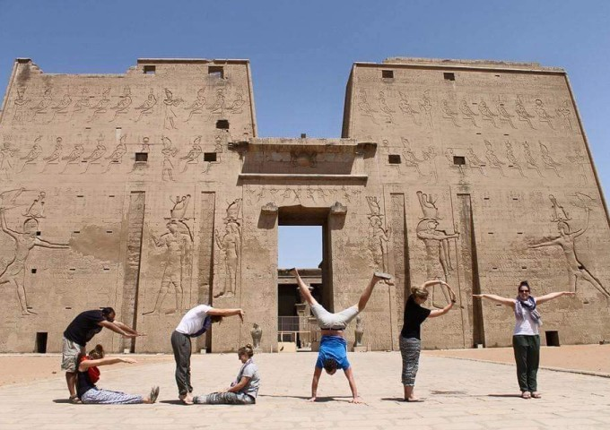 Group at Edfu Temple, Egypt
