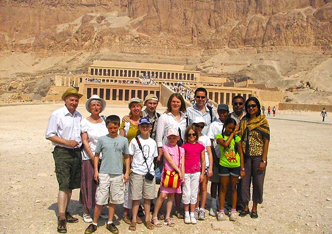 Family group at Hatshepsut Temple, Luxor, Egypt
