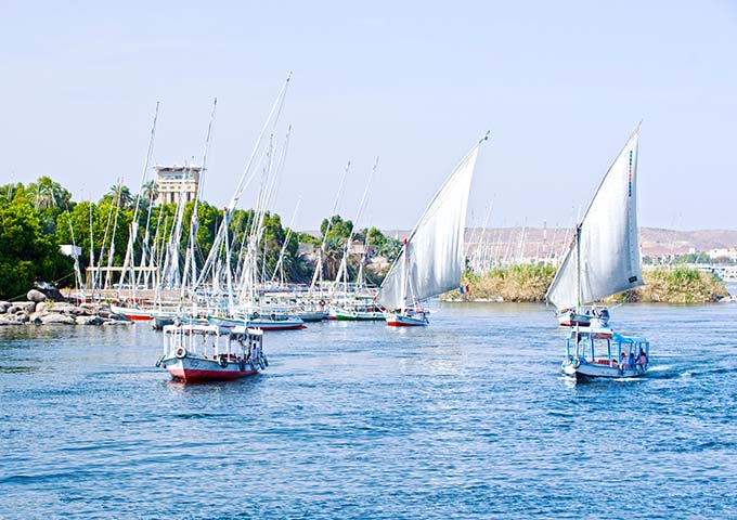 Feluccas on the River Nile, Aswan, Egypt