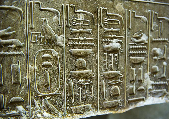Hieroglyphs at Saqaara Temple. Egypt