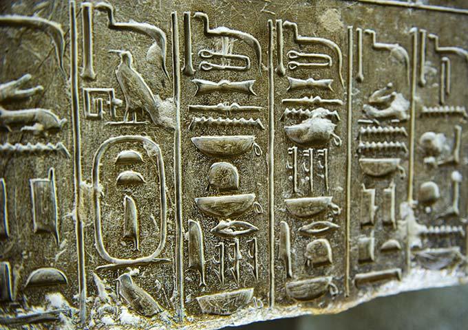 Hieroglyphs at Saqaara Temple. Egypt